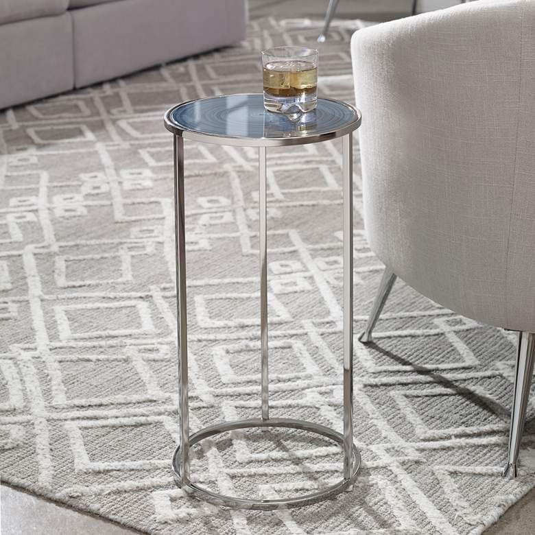 "Uttermost Whirl 12"" Wide Polished Nickel Round Drink Table"