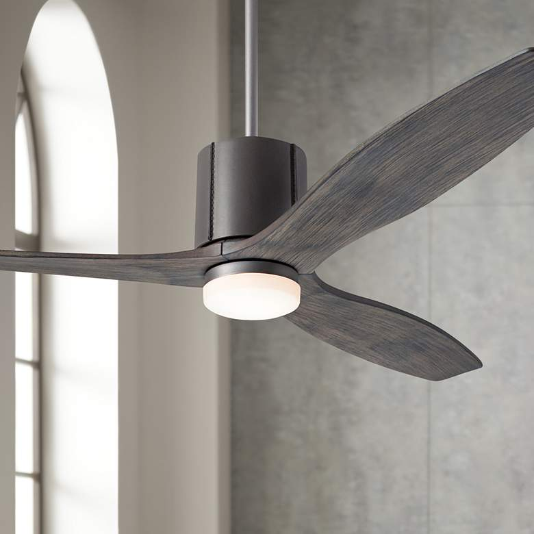 "54"" Modern Fan LeatherLuxe Graphite and Graywash LED Ceiling Fan"