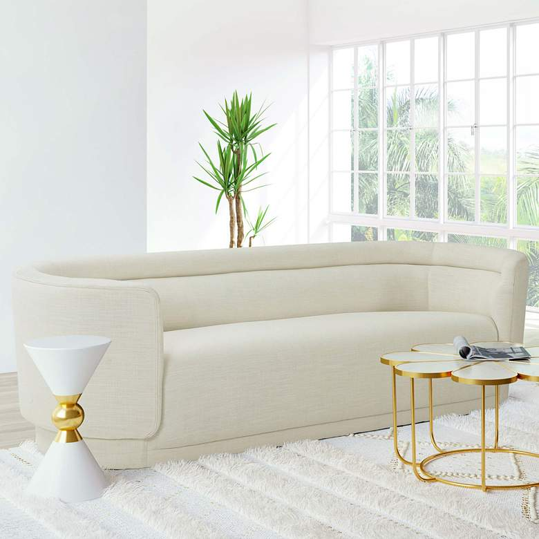 "Macie 92 1/2"" Wide Cream Linen Channel Tufted Sofa"