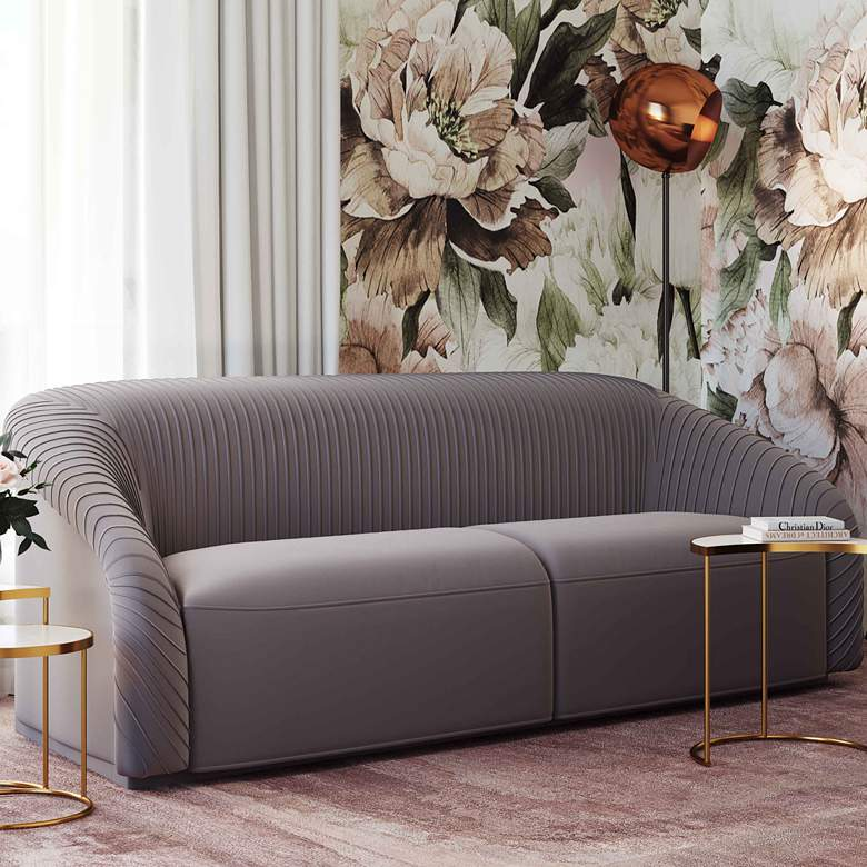 "Yara 90 1/2"" Wide Pleated Gray Velvet Sofa"