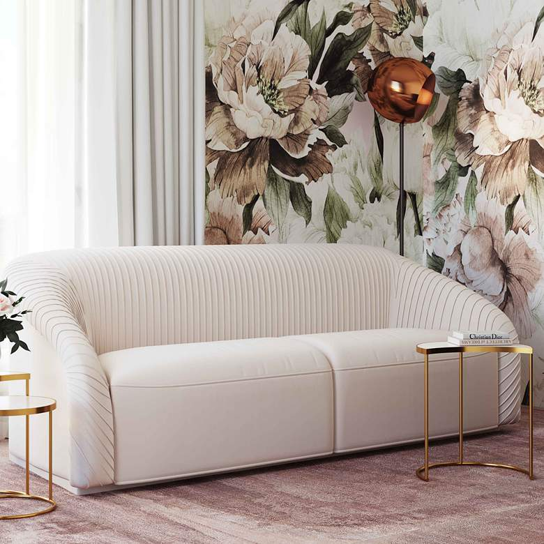 "Yara 90 1/2"" Wide Pleated Beige Velvet Sofa"