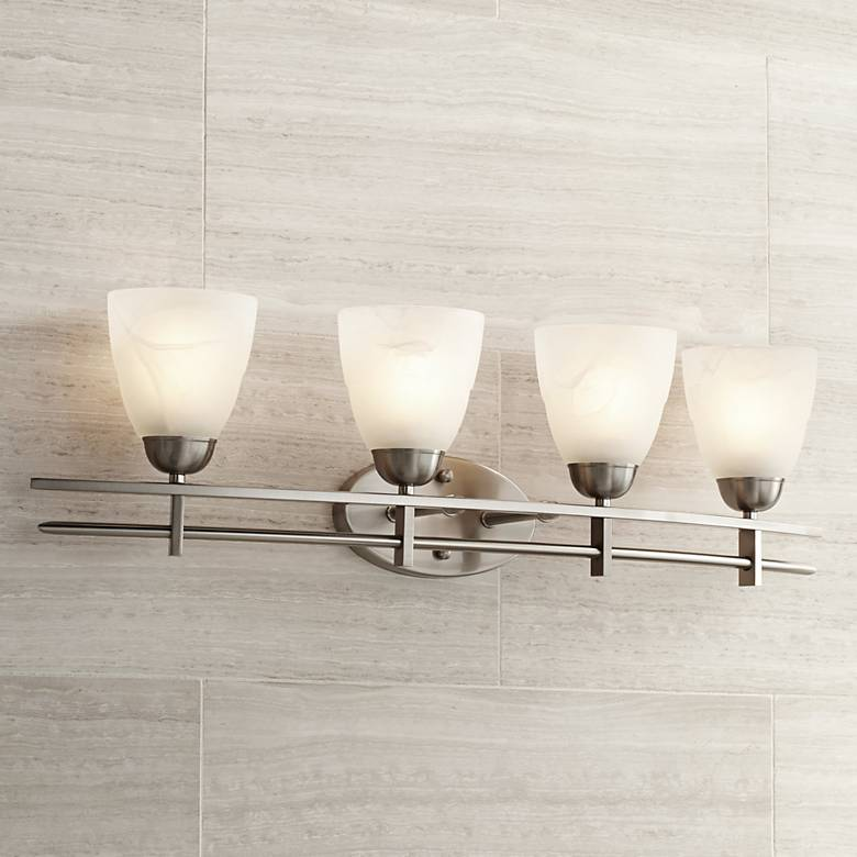 "Possini Euro Deco 33"" Wide Brushed Nickel 4-Light Bath Light"