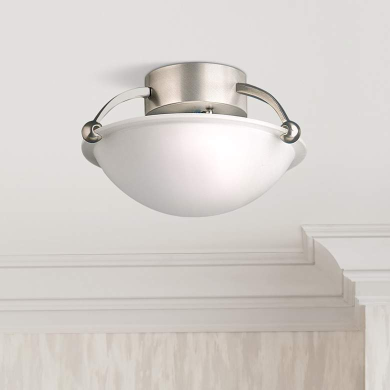 "Contemporary Brushed Steel 12"" Wide Ceiling Light Fixture"