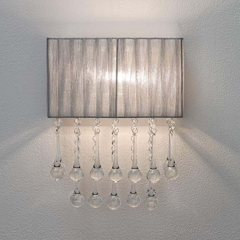 Possini Euro Pernelle 14 High Silver Crystal Wall Sconce