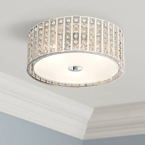 "Possini Euro Crystal Strands 15 3/4"" Wide Drum Ceiling Light"