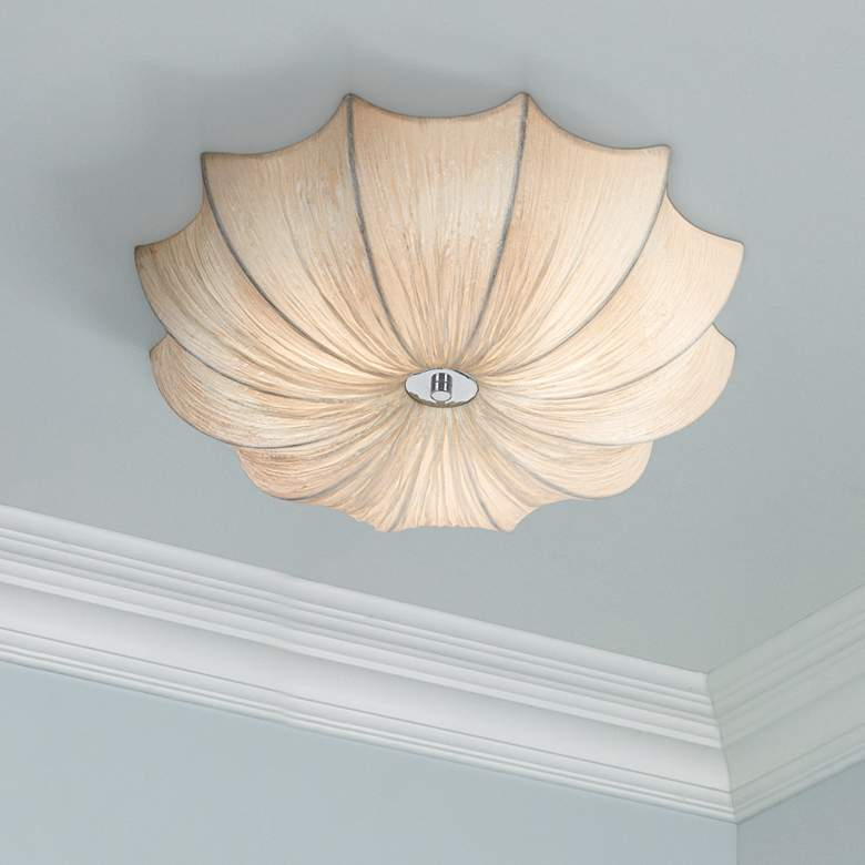 "Possini Euro Planetarium 21"" Wide White Fabric Ceiling Light"