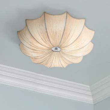 "Possini Euro Planetarium 21"" Wide Ivory Fabric Ceiling Light"