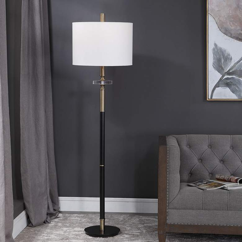 Uttermost Maud Aged Black and Antique Brass Metal Floor Lamp