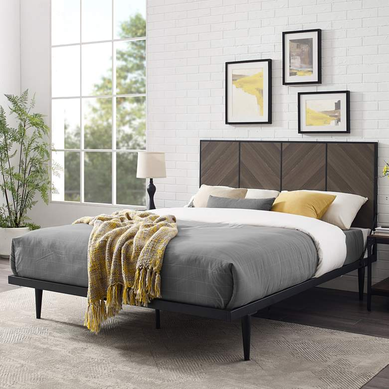 Ash Brown Bookmatch Metal and Wood Queen Platform Bed