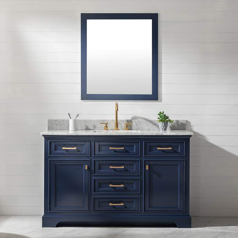 "Milano 54"" Wide Blue Wood 6-Drawer Single Sink Vanity"