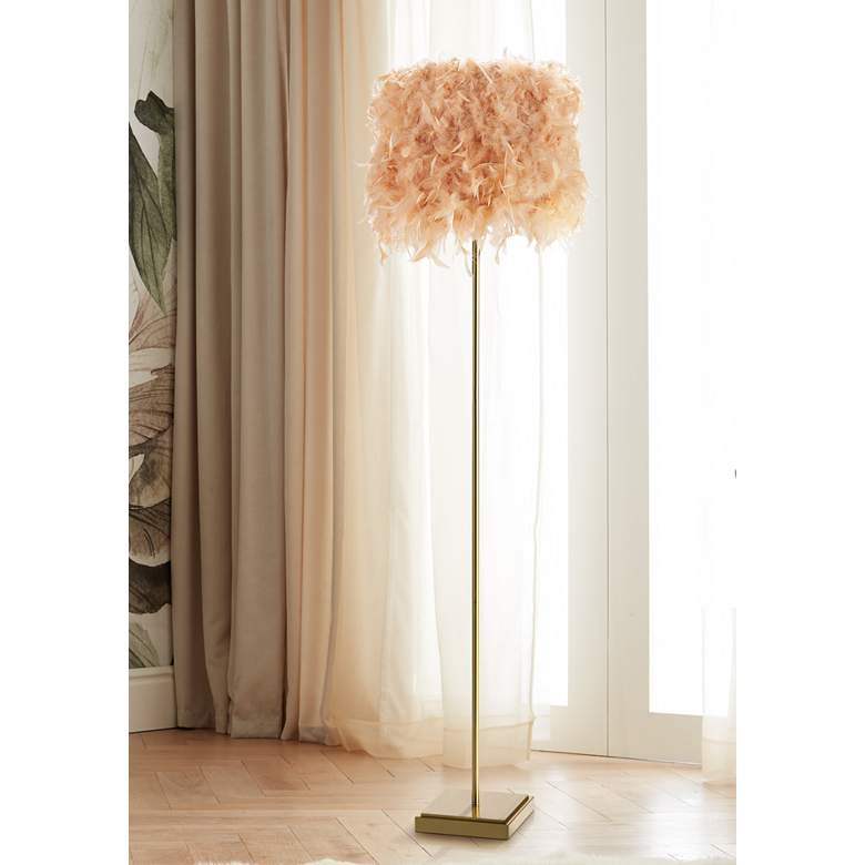 Regina Andrew Design Jasmine Natural Brass Pink Floor Lamp