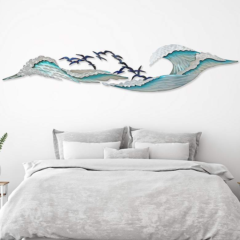 "Ocean Waves I 82"" Wide Indoor - Outdoor Metal Wall Art"