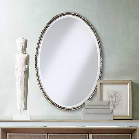 Uttermost Brushed Nickel Sherise 22 X 32 Oval Wall Mirror
