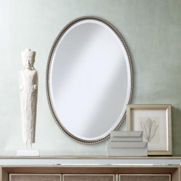 "Uttermost Brushed Nickel Sherise 22"" x 32"" Oval Wall Mirror"
