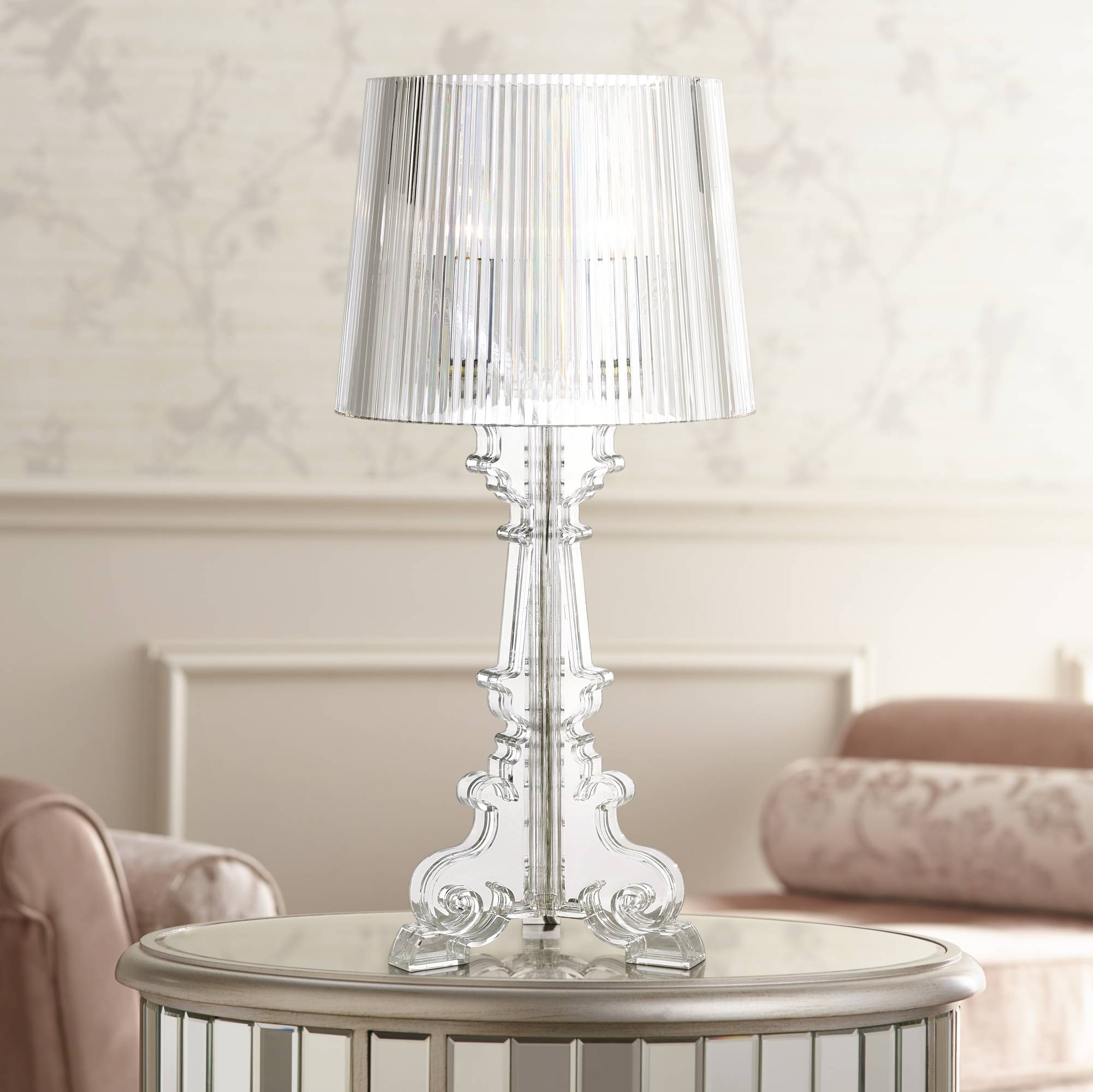 Baroque clear acrylic 20 high accent table lamp