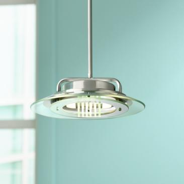 "Contemporary Glass Ring 12"" Wide Brushed Nickel Mini Pendant"