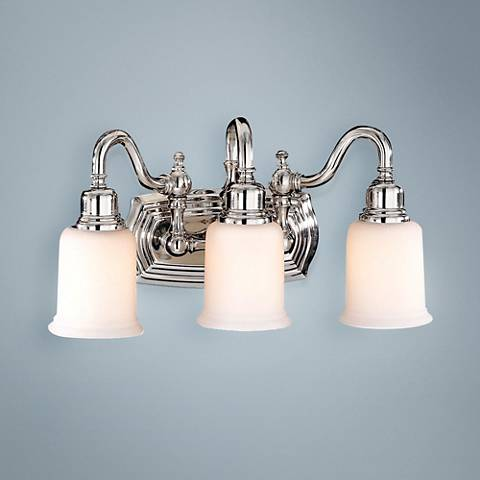 "Canterbury 19""W Polished Nickel 3-Light Bathroom Fixture"