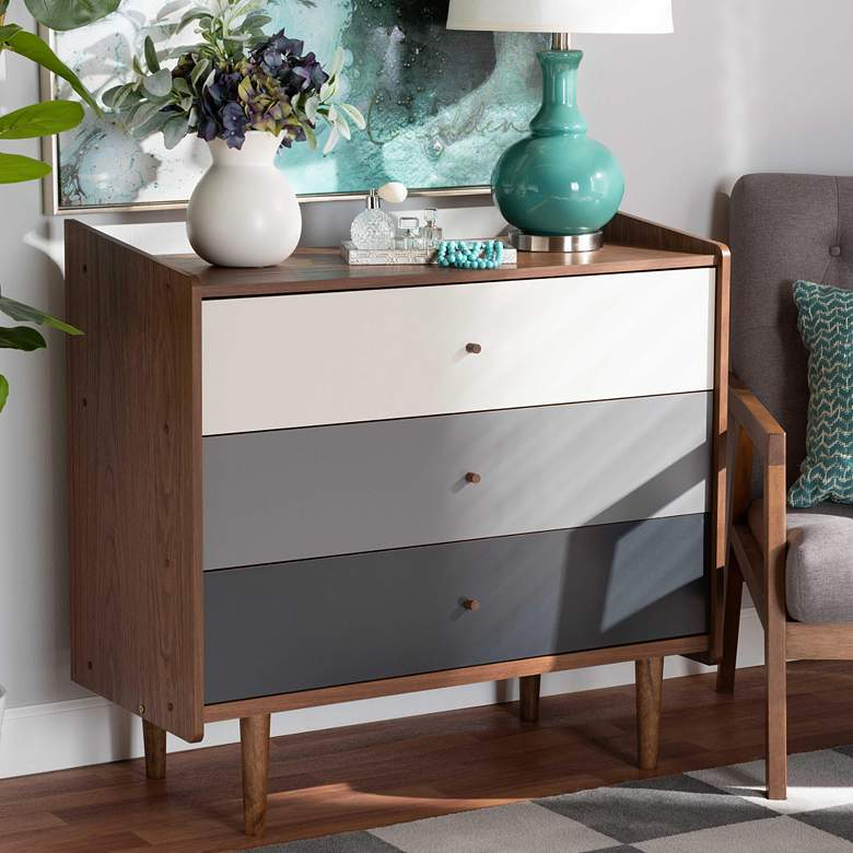 "Halden 35 1/2""W Walnut Brown and Gray 3-Drawer Accent Chest"
