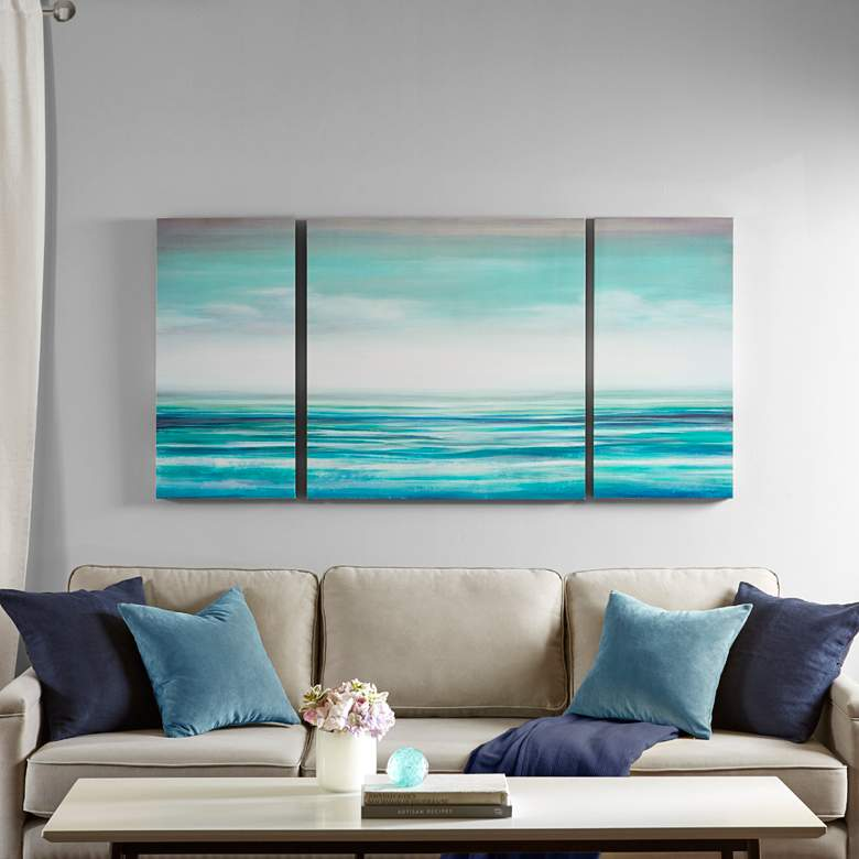 "Teal Tides 30"" High 3-Piece Gel Coat Canvas Wall Art Set"