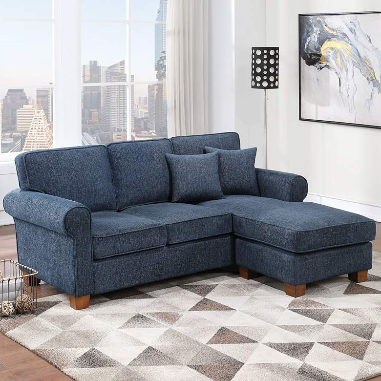 Rylee Navy Fabric L-Shaped Sectional Sofa with 2 Pillows