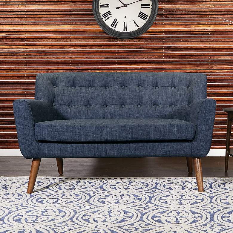 Mill Lane Navy Button-Tufted Loveseat
