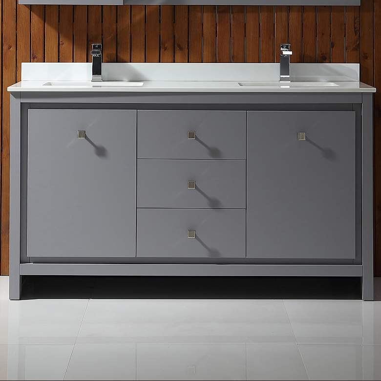 "Kevin 60"" Wide Pebble Gray 2-Door Double Sink Vanity"