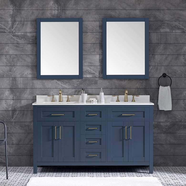 "Tahoe 60"" Wide Blue Double Sink Vanity Kit With 2 Mirrors"