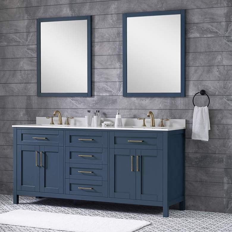 "Tahoe 72"" Wide Blue Double Sink Vanity Kit With 2 Mirrors"