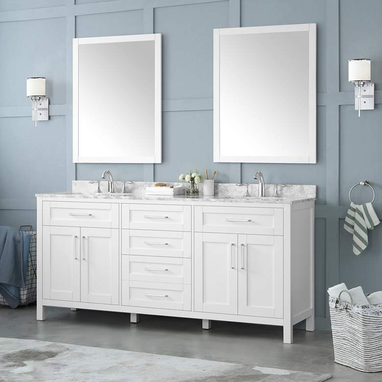 "Tahoe 72"" Wide White Double Sink Vanity Kit With 2 Mirrors"