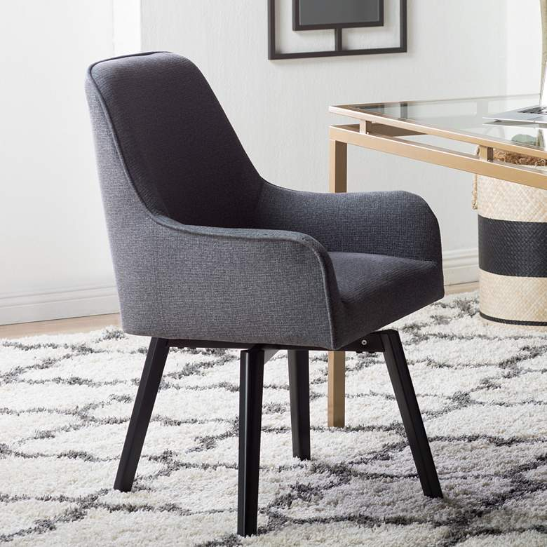 Spire Charcoal Gray Fabric Luxe Swivel Accent Chair