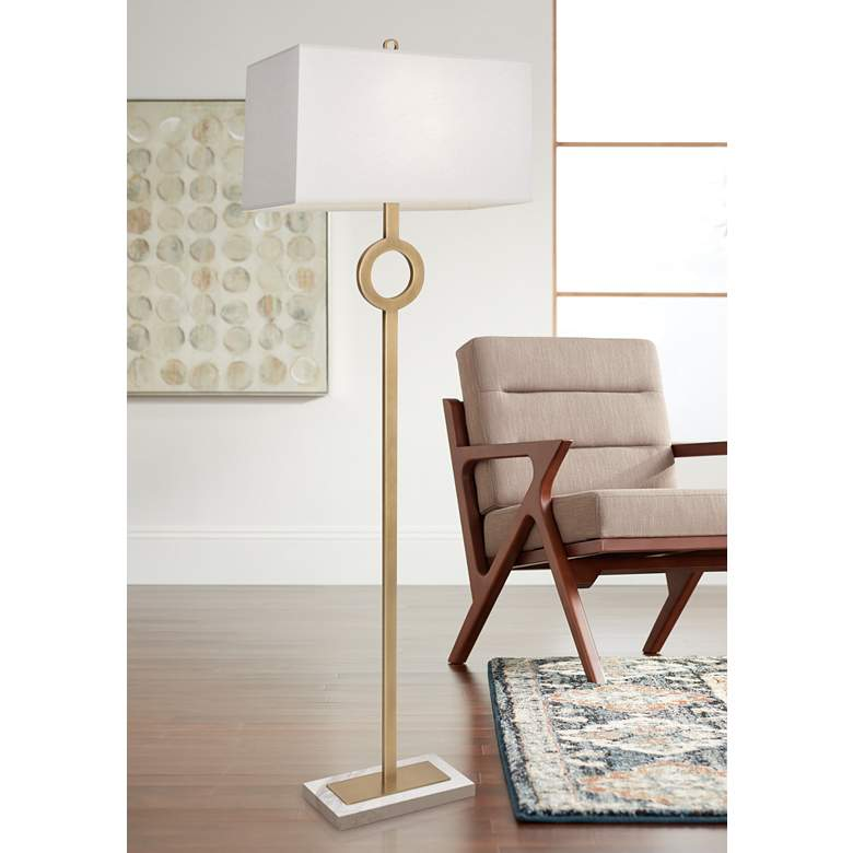 Robert Abbey Oculus Brass Metal Floor Lamp with Oyster Shade