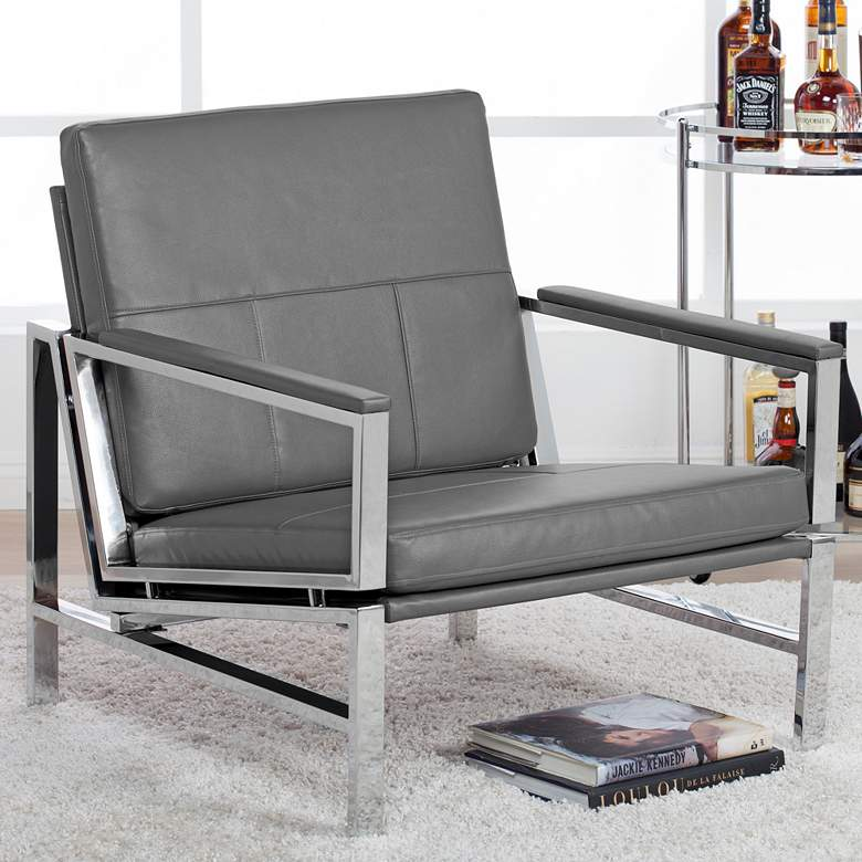 Atlas Smoke Gray Bonded Leather Accent Chair