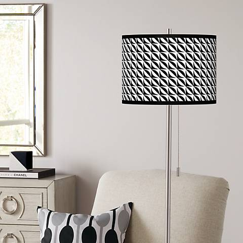 Waves Brushed Nickel Pull Chain Floor Lamp