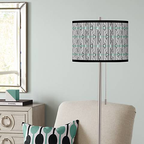 Indigenous Brushed Nickel Pull Chain Floor Lamp