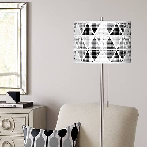 Pointillism Brushed Nickel Pull Chain Floor Lamp