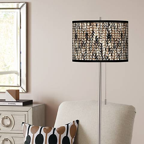 Braided Jute Brushed Nickel Pull Chain Floor Lamp