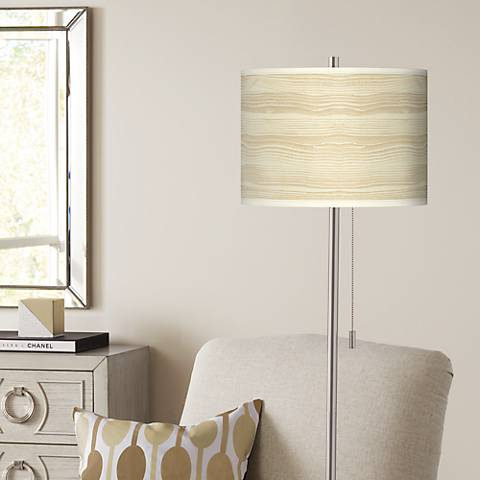 Birch Blonde Brushed Nickel Pull Chain Floor Lamp