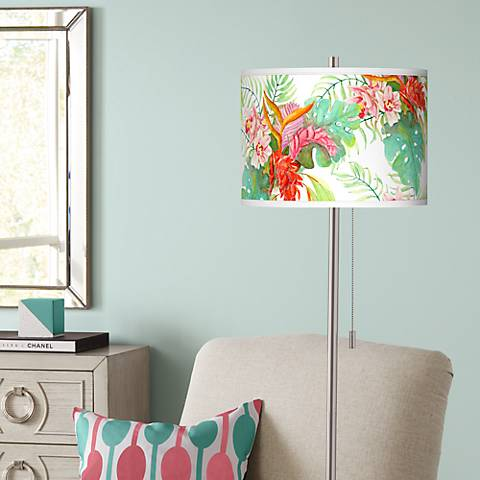 Island Floral Brushed Nickel Pull Chain Floor Lamp