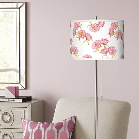 Pretty Peonies Brushed Nickel Pull Chain Floor Lamp