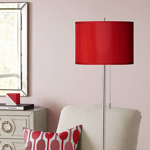 China Red Textured Silk Brushed Nickel Pull Chain Floor Lamp