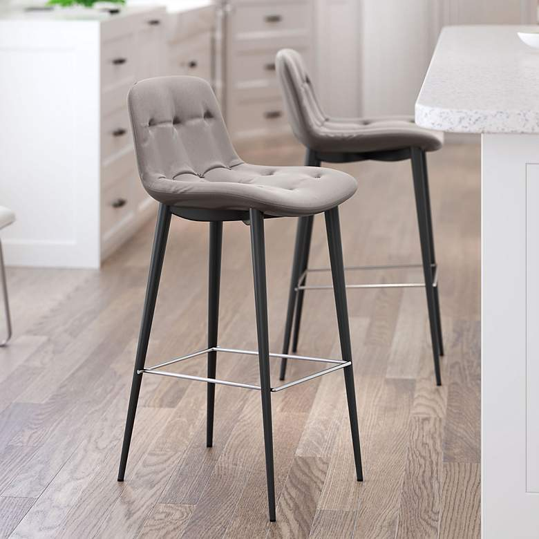 "Zuo Tangiers 30 1/4"" Taupe Tufted Bar Stools Set of 2"