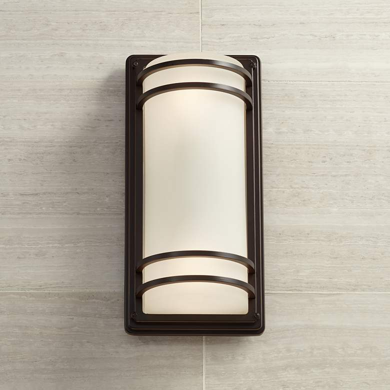 Habitat 16 High Bronze And Opal Gl Outdoor Wall Light
