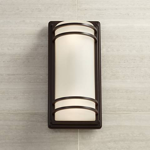 "Habitat 16"" High Bronze and Opal Glass Outdoor Wall Light"