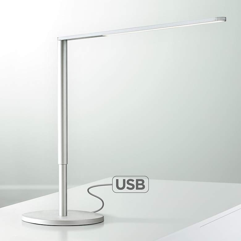Koncept Lady-7 Silver LED Desk Lamp with USB