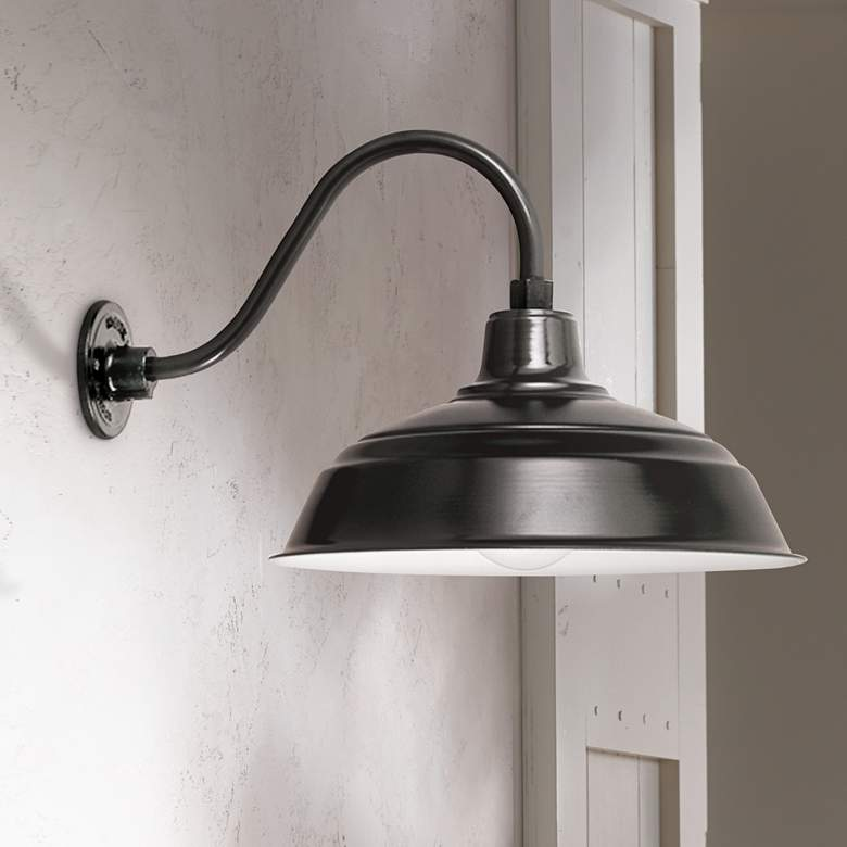 "Outdoor Warehouse Light: Warehouse 10"" High Black Gooseneck Outdoor Wall Light"