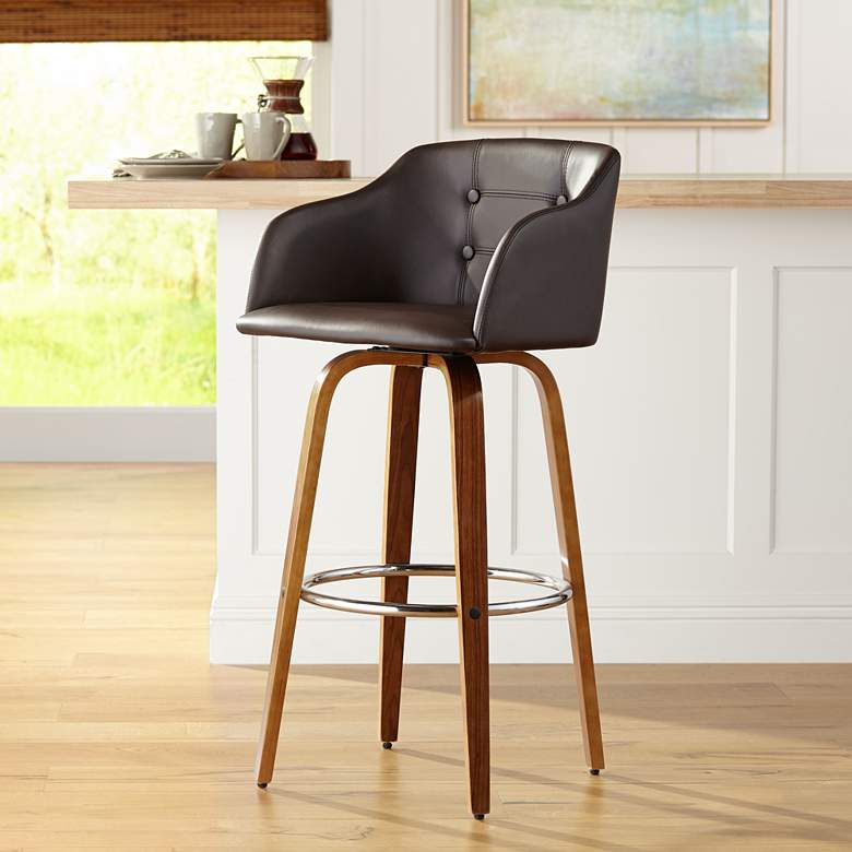 "Bruno 29 1/2"" Chocolate Faux Leather Swivel Barstool"