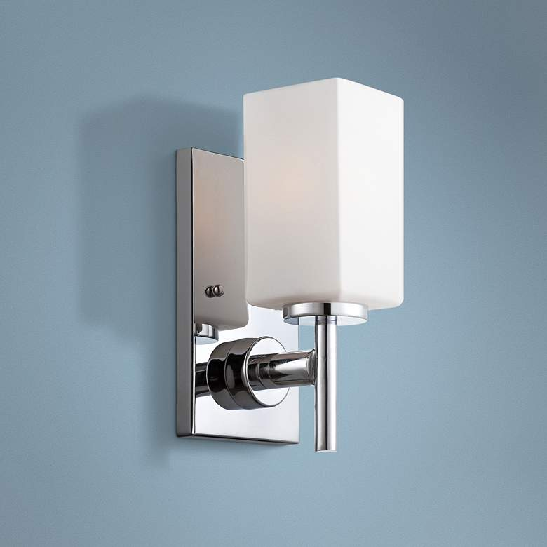 "Dakota 10"" High Frosted Glass Polished Chrome Wall Sconce"