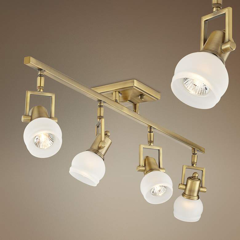 "Pro Track® Corwin Brass 32 1/2"" Wide 4-Light Track Fixture"