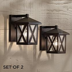 "Elkins 7 1/2"" High Black Outdoor Wall Lights Set of 2"