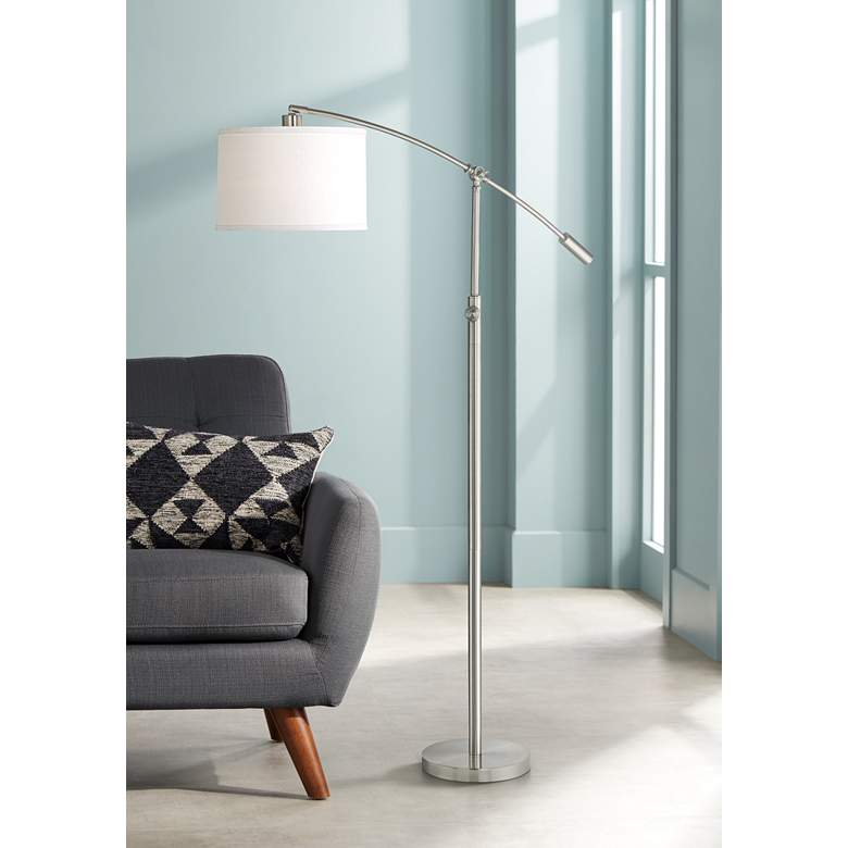 Quoizel Clift Brushed Nickel Adjustable Arc Floor Lamp